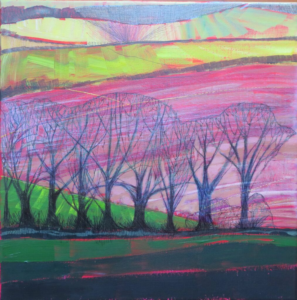 A painting of a local Devon landscape